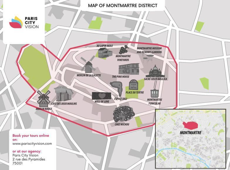 Downloadable Map Of Montmartre Squares Monuments Pariscityvision
