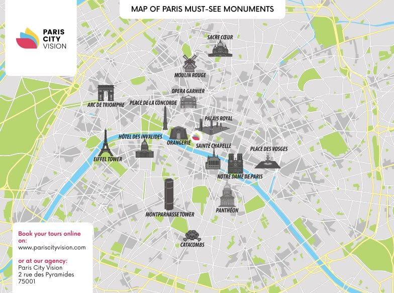 Map of Paris Monuments: downloadable map – PARISCityVISION ...