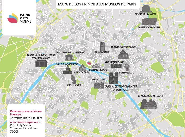 Mapa De Paris Centro.Mapa De Museos De Paris Plano Descargable Pariscityvision