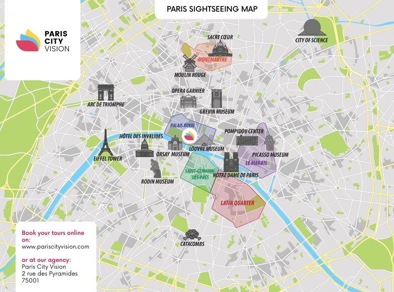 Paris Tourist Map: downloadable map – PARISCityVISION ...